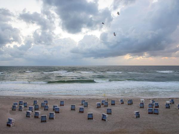 """Beach-baskets near """"Buhne 16"""" on Sylt Island"""